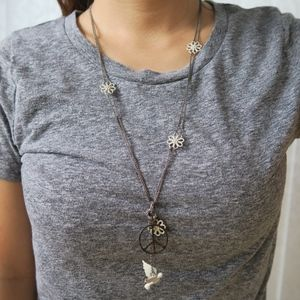 Lucky Brand Dove & Peace Sign Necklace